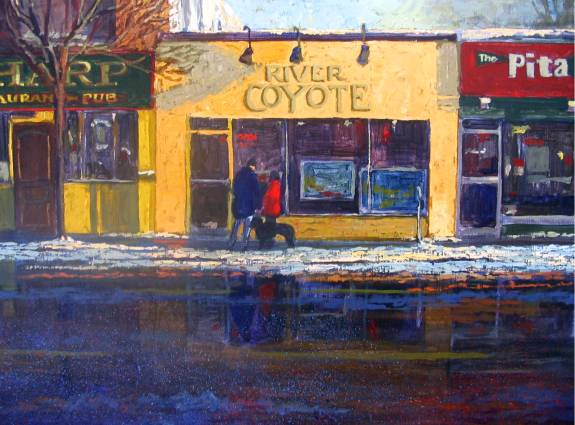 River Coyote gallery- Port Credit, Mississauga- - Oil Painting by Dermot McKeown
