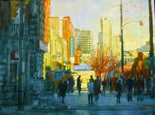 Roots Spadina - Toronto Street Scene- Original Oil painting by Dermot McKeown